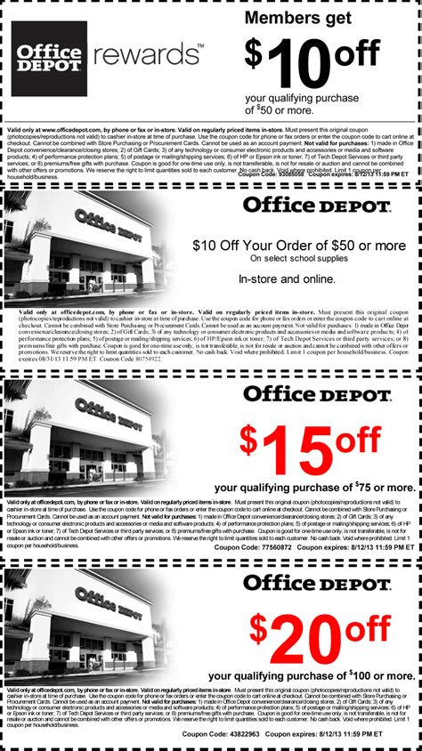 office depot coupons barcode office depot coupons 10 off 50 and more at office