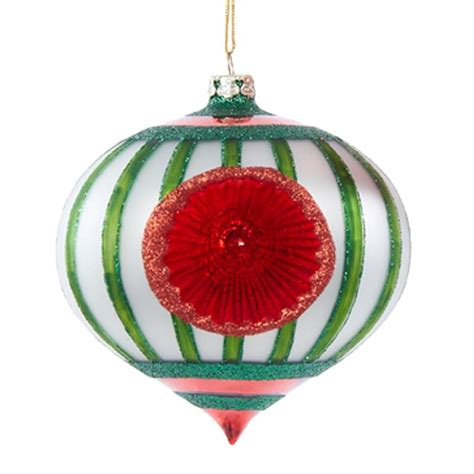 new kurt adler 4 5 quot green red glass vintage reflector