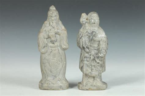 Soapstone Figures - two soapstone figures of immortals larger 8 3 4