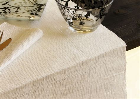 white and silver table runner placemats and table runners