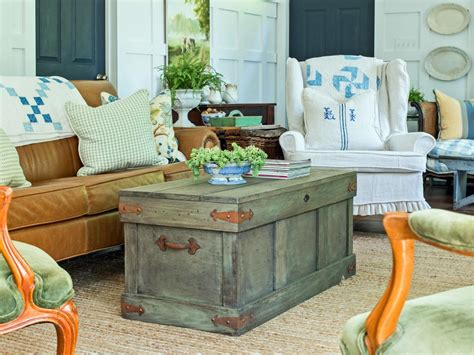 rustic living room table how to construct a rustic trunk style coffee table hgtv