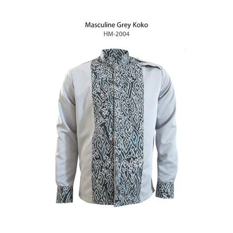 Kemeja Koko Pria Lengan Panjang Zyan Grey Abu Baju Formal Slimfit masculine grey koko dengan batik megamendung hm 2004
