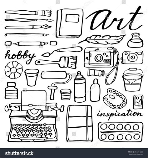 doodle drawing tools supplies set handdrawn collection stock vector