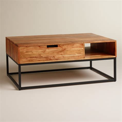 Wood Coffee Table With Storage Wood Silas Storage Coffee Table World Market