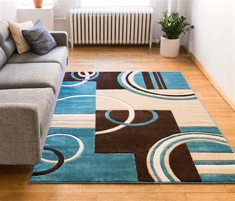Area Rug 8x11 Save 51 Echo Shapes Amp Circles Blue Amp Brown Modern