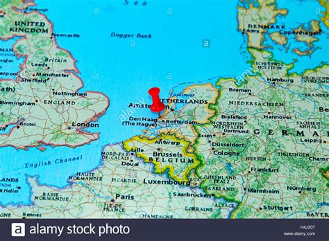 netherlands the hague map the hague netherlands pinned on a map of europe stock