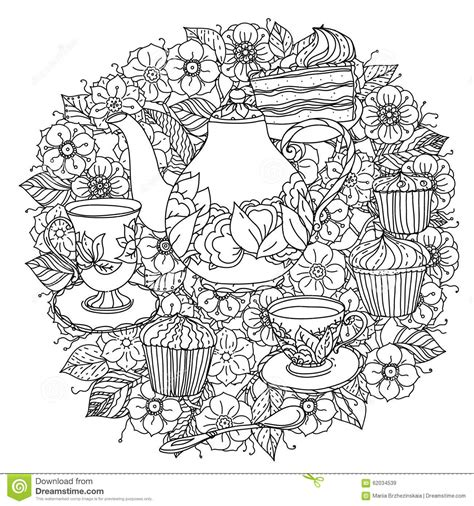 creative tea time coloring book coloring books with elements of time for tea stock vector image 62034539
