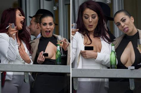 celebrity couples out of their league cheltenham day 1 boob flashing katie salmon making her