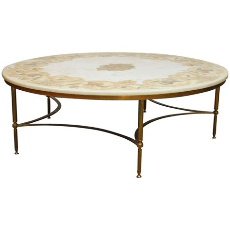 florentine marble and brass cocktail coffee table at