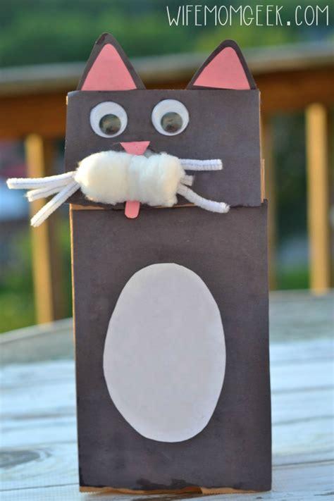 Paper Bag Cat Craft - cat paper bag puppet kid craft