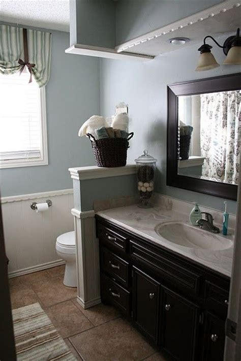 blue gray walls  espresso cabinets traditional
