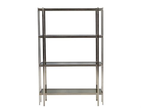 Etagere Nickel by Mid Century Modern Brushed Nickel Etagere With Smoked