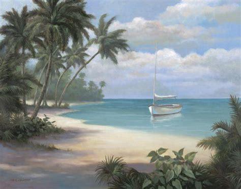 Set of 4 tropical art prints palm trees sailboats 8x10 posters beach ocean theme ebay