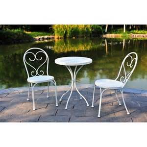 Small Outdoor Bistro Table Mainstays 3 Small Space Scroll Outdoor Bistro Set White Seats 2