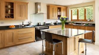 Kitchen Centre Islands open plan oak shaker kitchen from harvey jones
