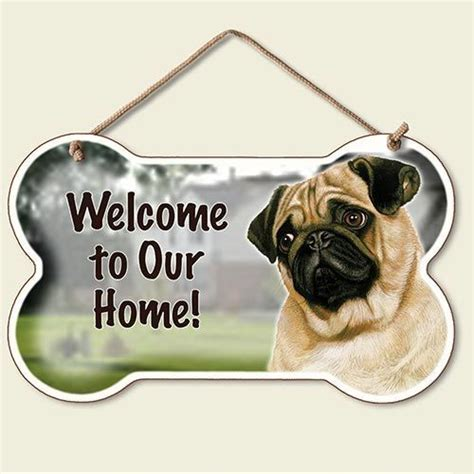 pug sign husky pug yorkie wood door wall sign new welcome ebay
