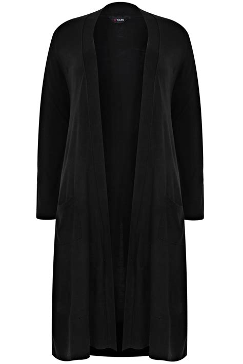 black knitted cardigan black maxi knit cardigan with pockets plus size 16 to 36