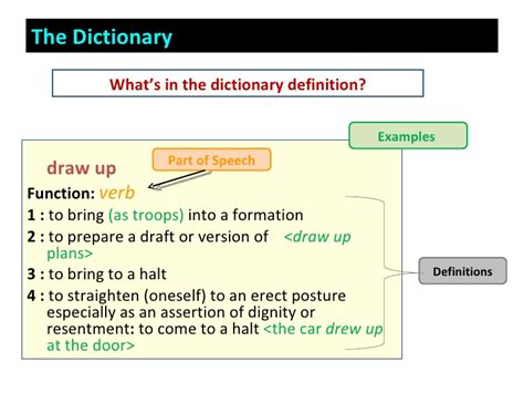 the meaning of section dictionary and parts of speech