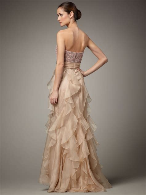 Cheap ruffles organza sweetheart champagne prom dresses