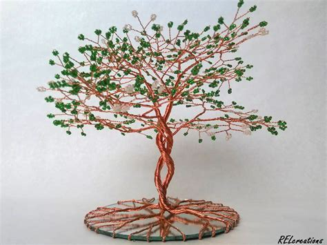 how to make a beaded wire tree infinity beaded copper wire tree on mirror by arielgasca