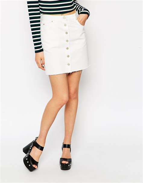 a line white denim skirt dress