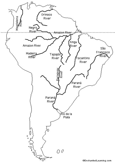 labeled outline map rivers of south america