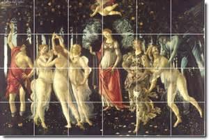 Botticelli religious tile living room murals remodel contemporary