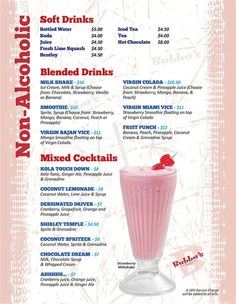 alcoholic drinks at a bar non alcoholic drinks bubba s sports bar restaurant