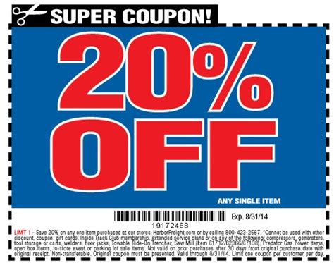 Harbor Freight Coupons 20 Off Printable | pin harbor freight coupon images on pinterest