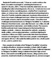 book report on bridge to terabithia banned books the bridge to terabithia at essaypedia