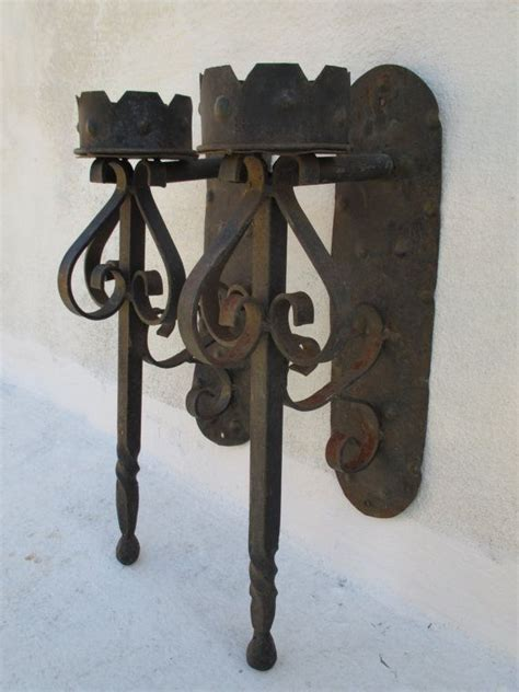 candelabros medievales pair of wrought iron medieval gothic torch candle holder