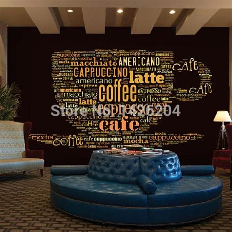 coffee shop wallpaper murals custom european style leisure coffee shop english letters