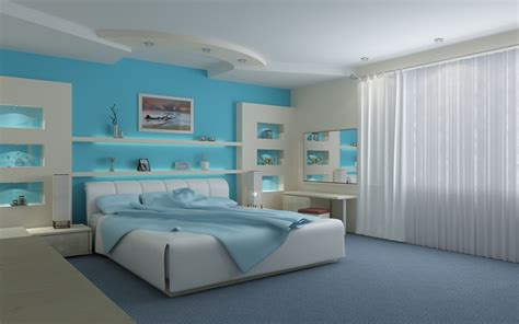 Modern Blue Bedroom | graceful white and light blue modern bedroom interior