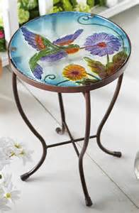 Outdoor Accent Table Hummingbird Garden Patio Accent Table