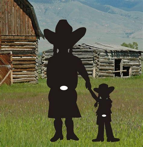 cowboy cowgirl daughter silhouette yard art pattern