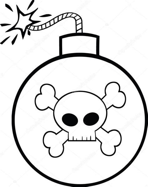 imagenes en blanco y negro para estar bomba de dibujos animados blanco y negro con calavera