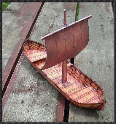 Origami Viking Ship - viking cargo ship knarr free paper model