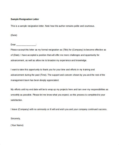 Polite Letter Of Resignation by 10 Resignation Letter Word Template Free Premium Templates