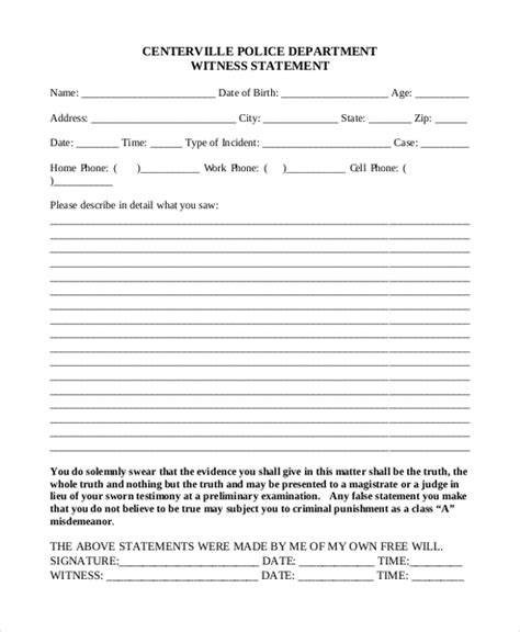 witness statement template sle affidavit form template