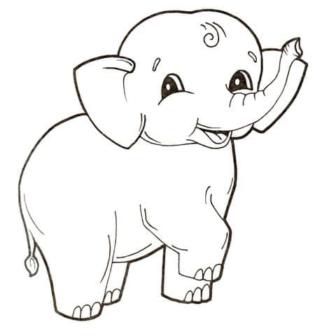 cute baby elephant coloring page | free printable coloring