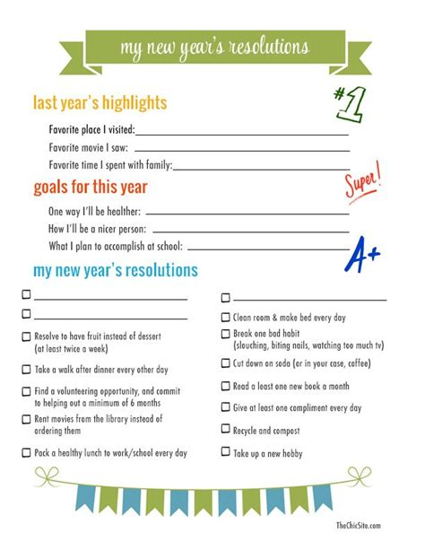 new year template printable new year s resolutions to do with the the chic site