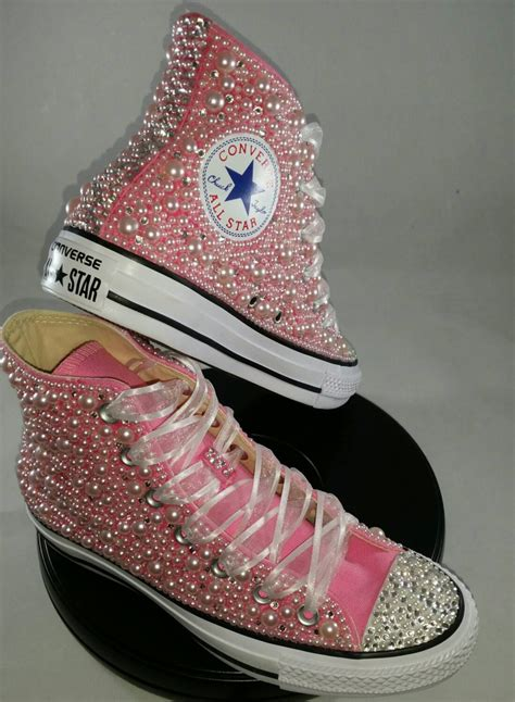 custom wedding sneakers wedding converse bridal sneakers bling pearls custom