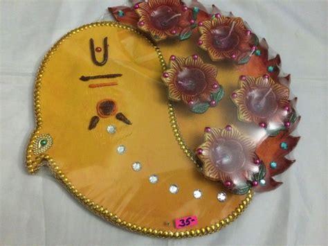 Handmade Diwali Diya - diwali pooja thali handmade decorative thali with diya