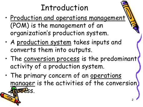 Mba Production And Operations Management Colleges by Production And Operation Management