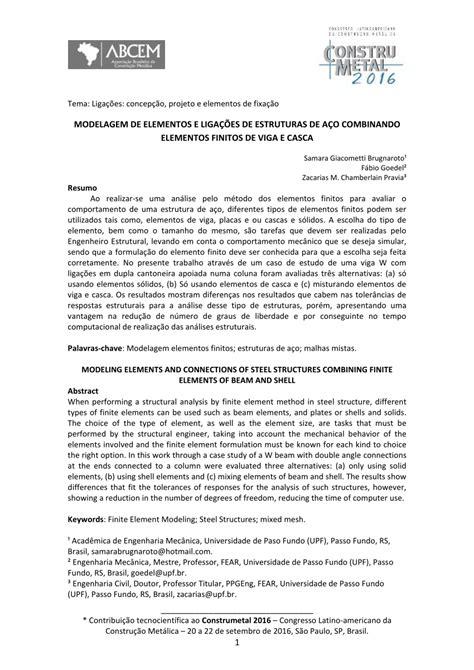 (PDF) MODELAGEM DE ELEMENTOS E LIGAÇÕES DE ESTRUTURAS DE
