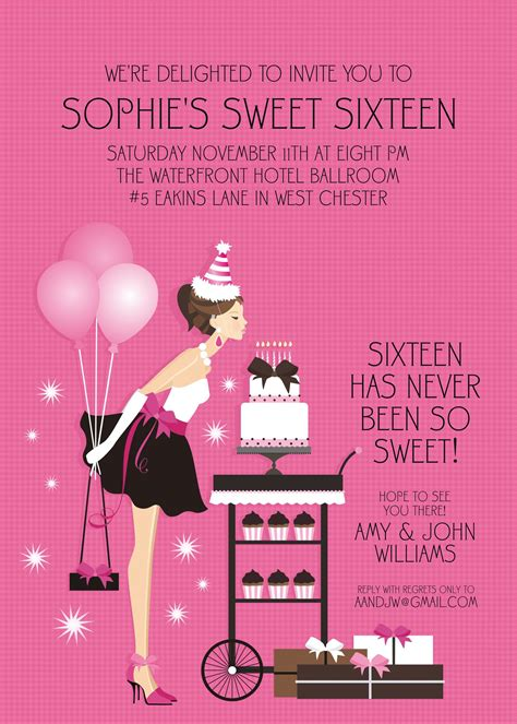 sweet 16 invitation card templates birthday sweet 16 birthday invitations templates