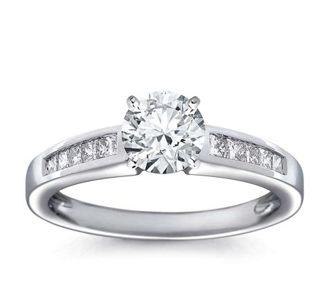 channel set princess cut engagement ring in 18k