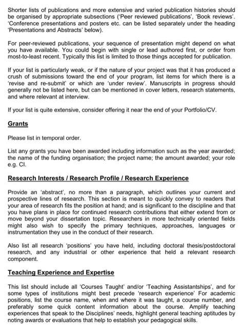 academic portfolio template academic portfolio cv template for free page 2