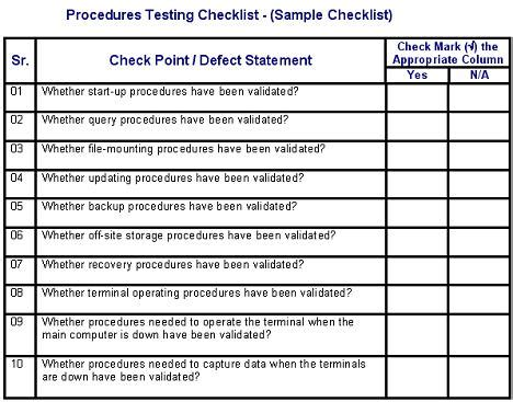 procedures testing defects checklist software testing genius