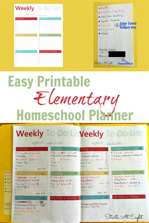 printable homeschool planner pages easy printable elementary homeschool planner startsateight